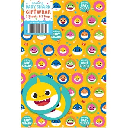 Baby Shark Wrapping Paper 2 sheet & 2 tags