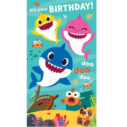 Baby Shark Birthday Card with Stickers