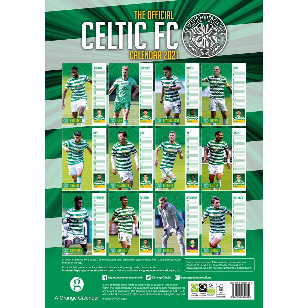 Celtic FC 2021 A3 Wall Calendar Back