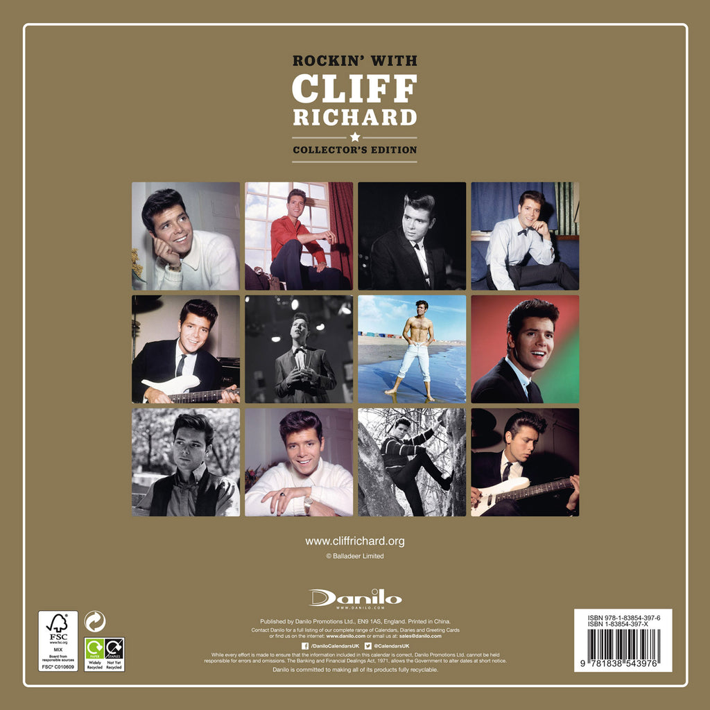 Cliff Richard Collector's Edition Official 2021 Calendar Back Cover