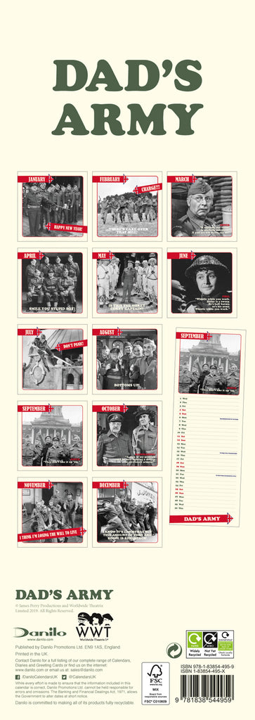 Dad's Army Official 2021 Slim Calendar Back