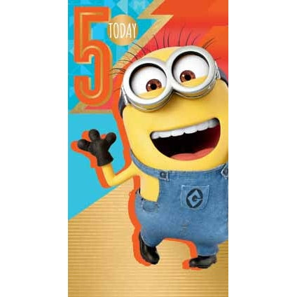 Despicable Me 3 Minion Age 5 Birthday Card