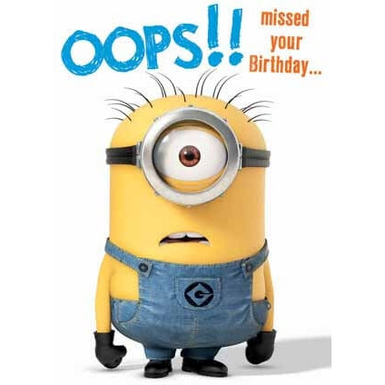Despicable Me Minion Belated Birthday Card