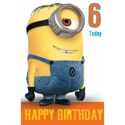 Despicable Me Minion Age 6 Pop Up Birthday Card