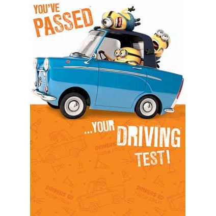 Despicable Me Minion Driving Test Congratulations Card