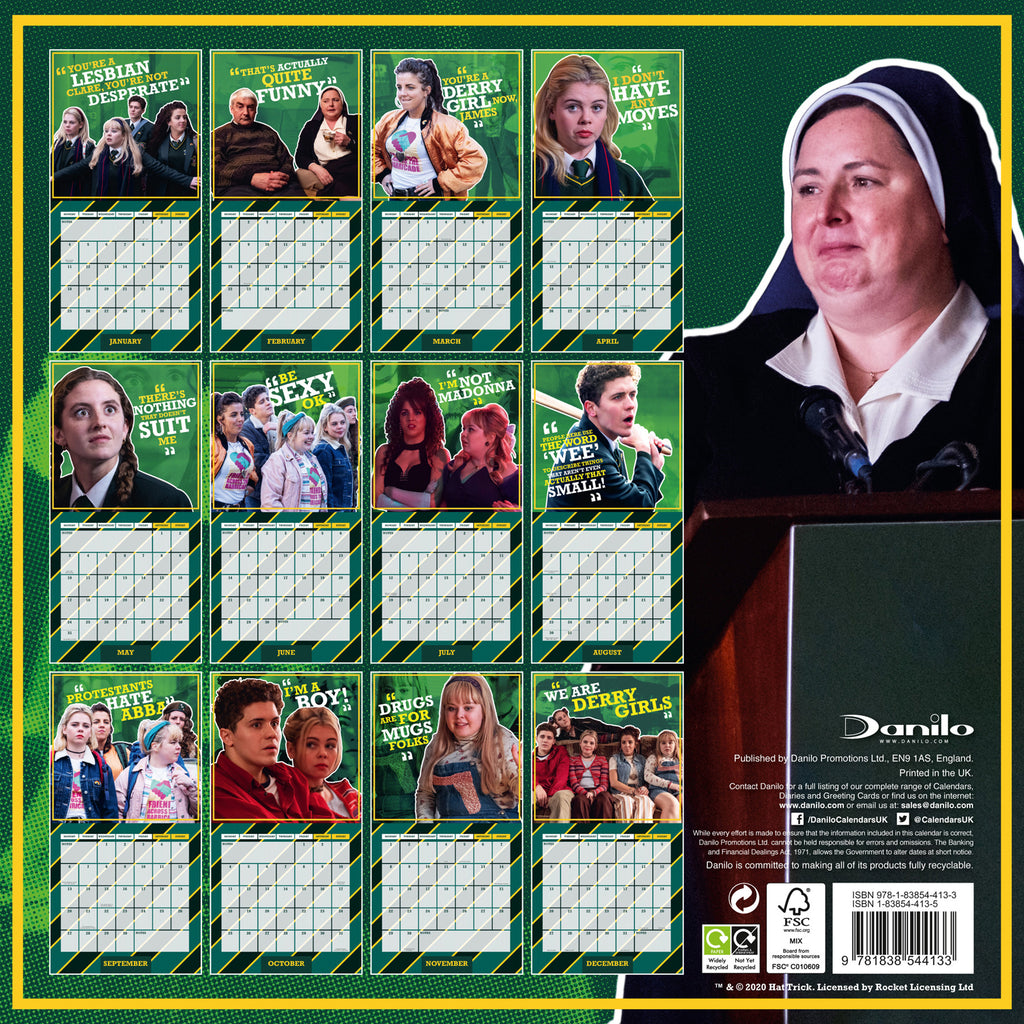 Derry Girls Official 2021 Square Wall Calendar Back