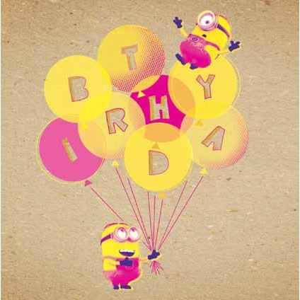 Despicable Me Crafty Minions Birthday Ballons Card