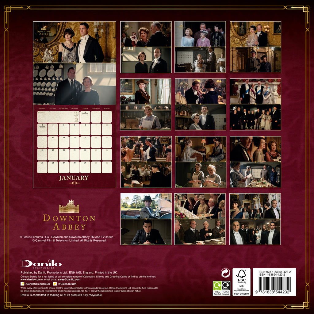 Downton Abbey Official Square 2021 Square Wall Calendar Back