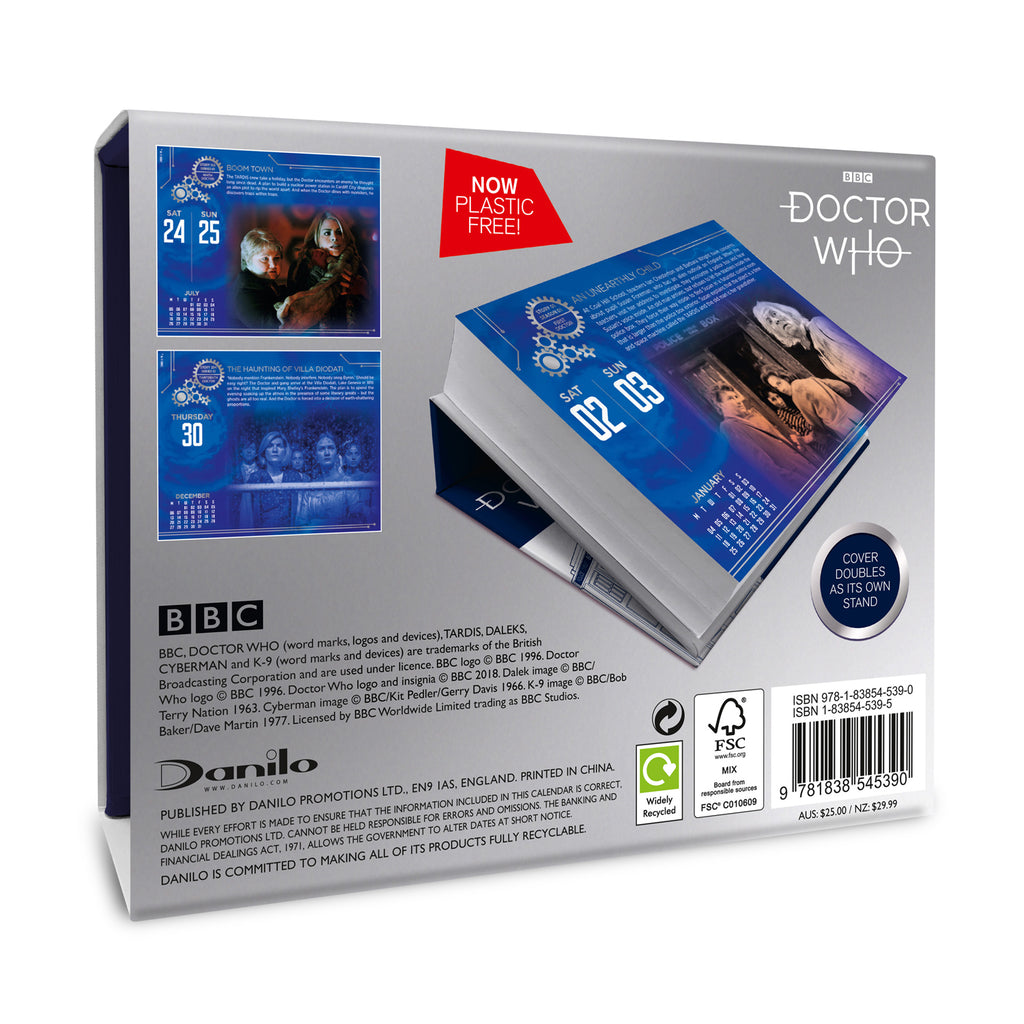 Doctor Who Official 2021 Desk Block Calendar Back