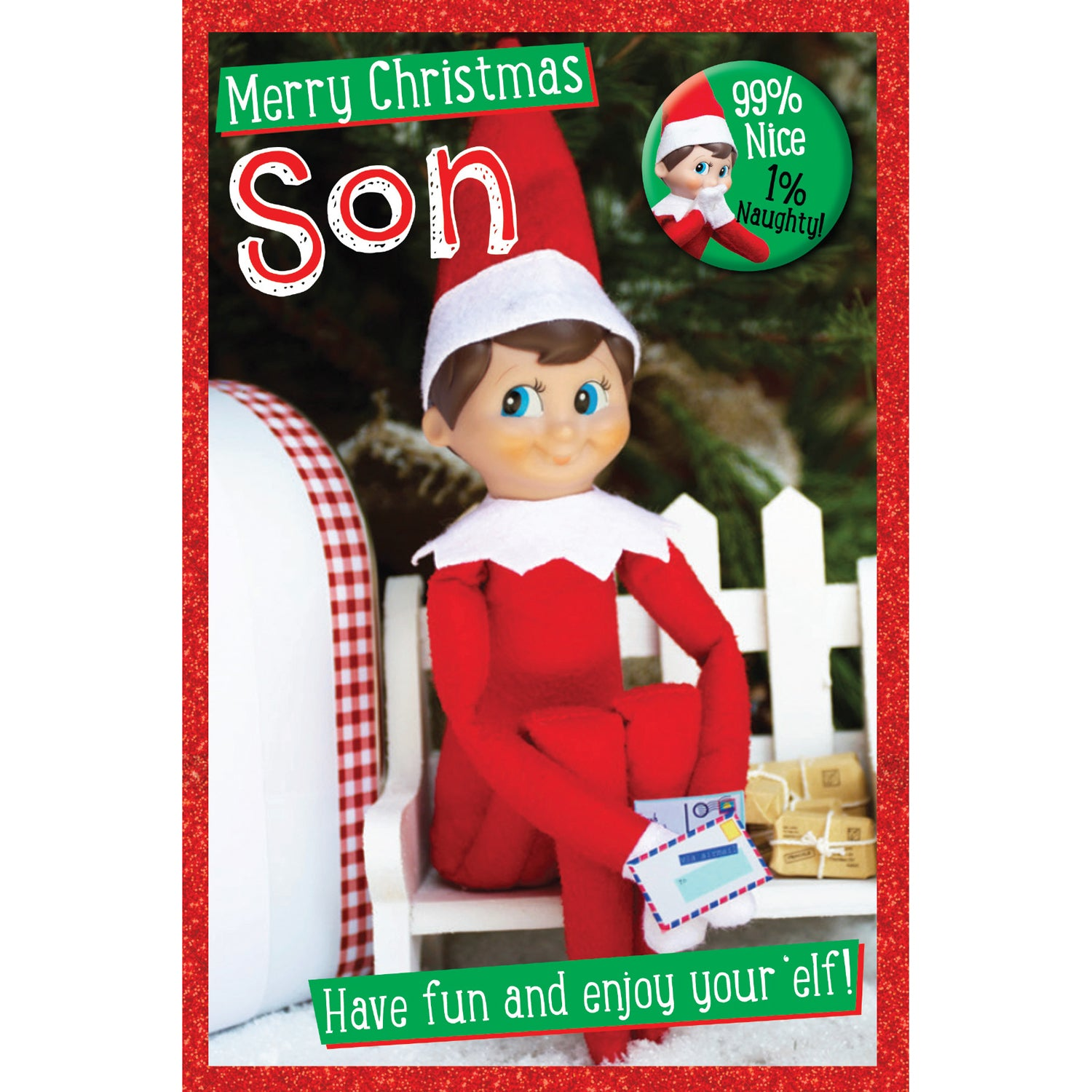 Elf On The Shelf Son Christmas Card