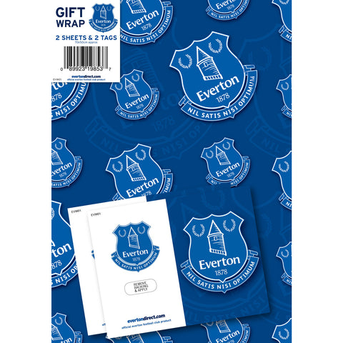 Everton Football Club Gift Wrap 2 Sheets & Tags