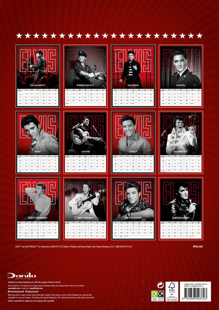 Elvis Official 2021 A3 Wall Calendar Back