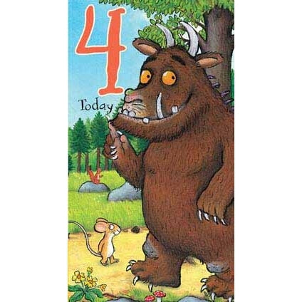 The Gruffalo 9x5 4th Birthday Card