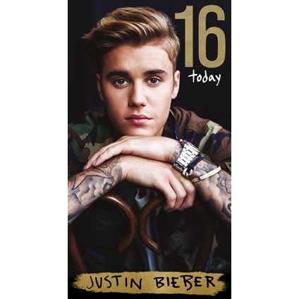 Justin Bieber Age 16 Birthday Card