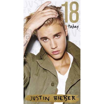 Justin Bieber Age 18 Birthday Card