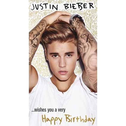 Justin Bieber Fold Out Birthday Card