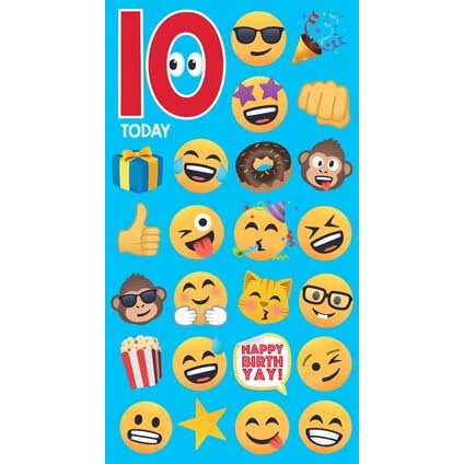 JoyPixels Emoji 10 Year Old Birthday Card