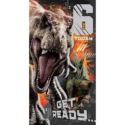 Jurassic World Age 6 Birthday Card with Sticker Sheet