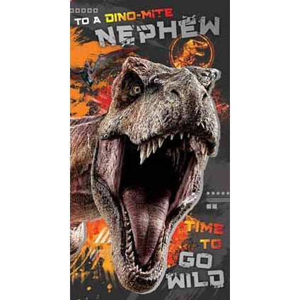Jurassic World Nephew Birthday Card