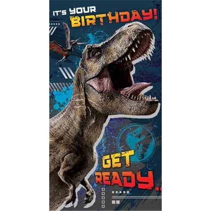 Jurassic World Happy Birthday Card with Sticker Sheet