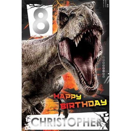 Jurassic World Personalise Age/Name Birthday Card