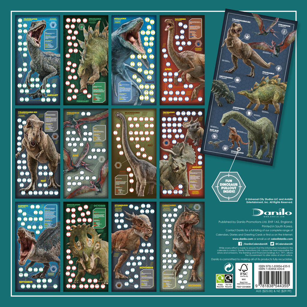 Jurassic World Official 2021 Square Wall Calendar Back