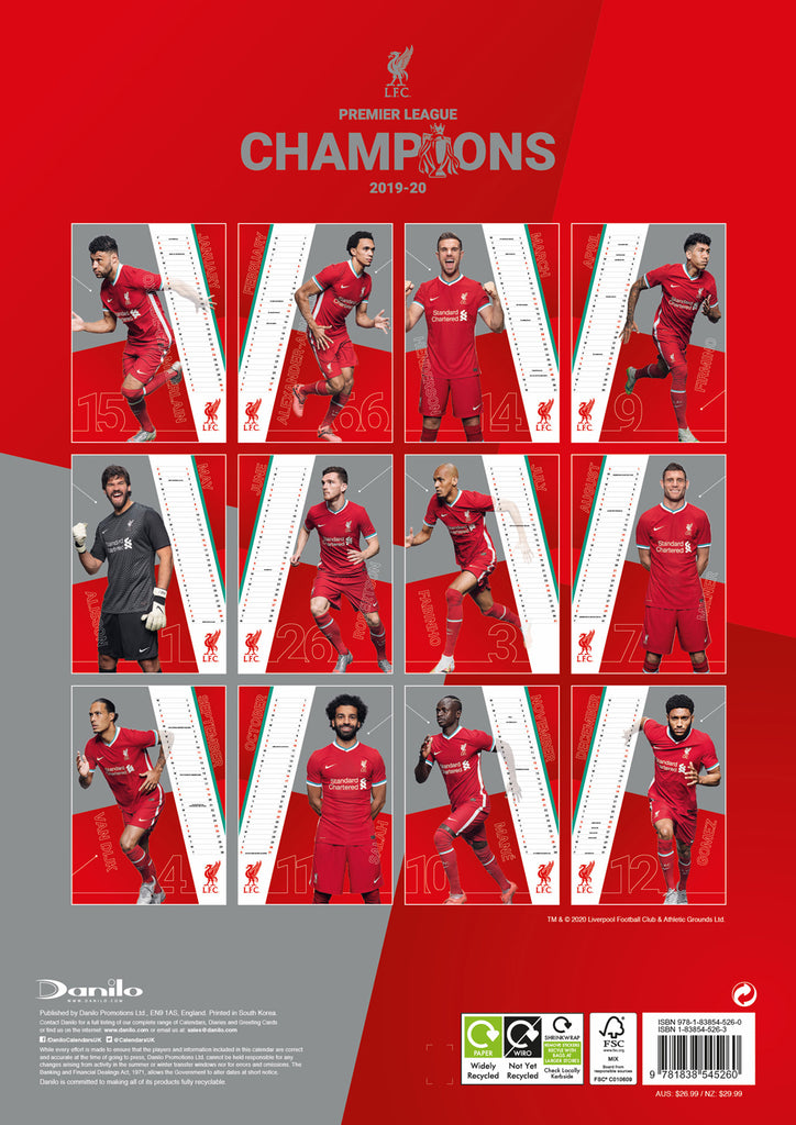 Liverpool FC 2021 A3 Wall Calendar Back