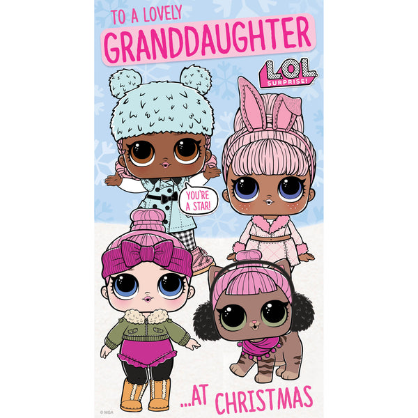 LOL Surprise Granddaughter Christmas Card Front
