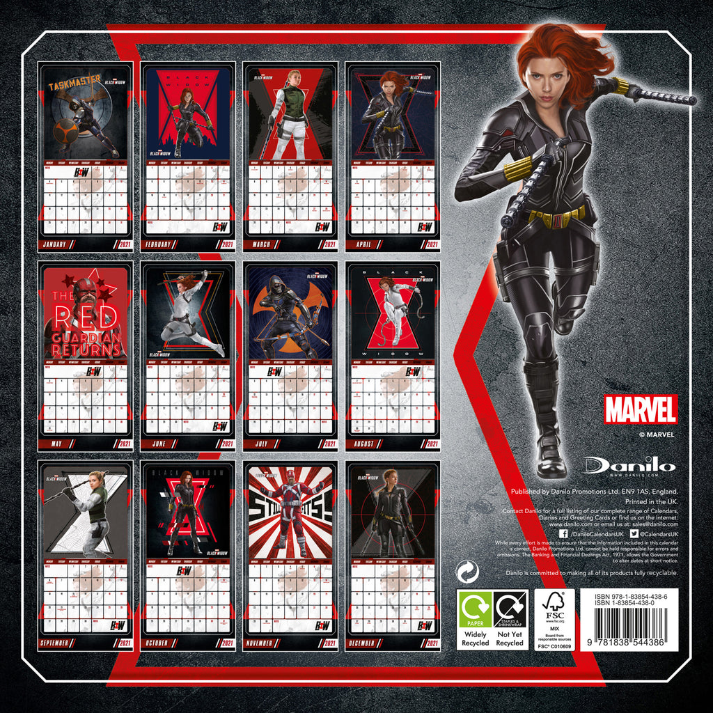 Marvel Black Widow 2021 Square Wall Calendar Back
