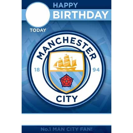 Manchester City Any Age, Any Name, Sticker Personalised Card