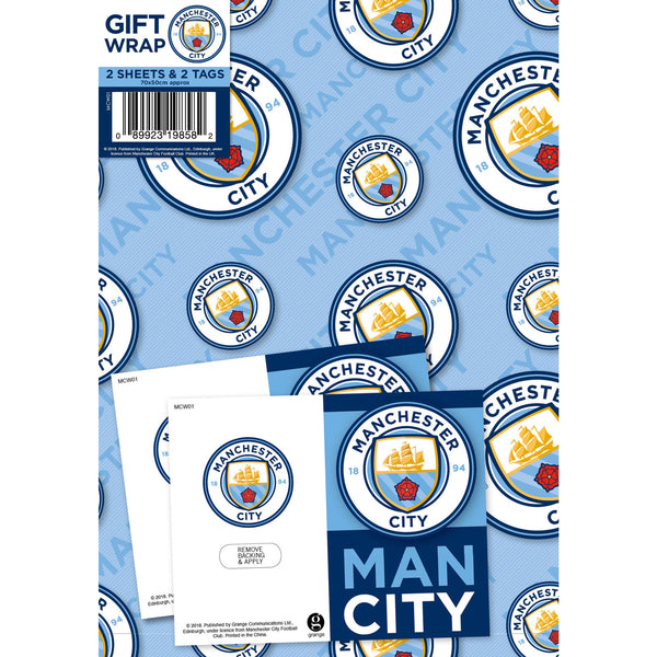 Manchester City Football Club Gift Wrap 2 Sheets & Tags