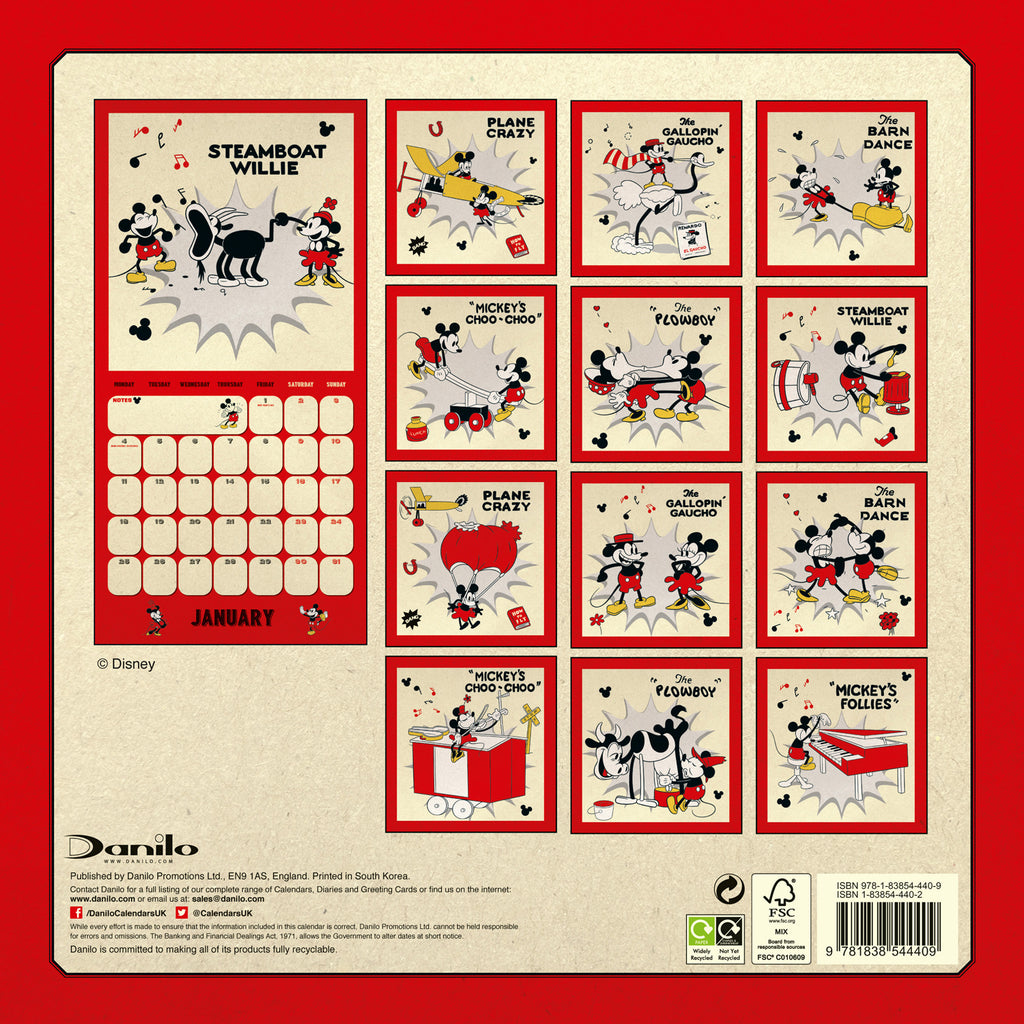 Mickey Mouse Official 2021 Square Wall Calendar BACK