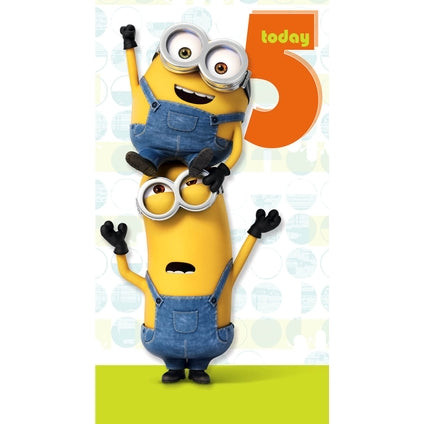 Minion Movie Age 5 Birthday Card