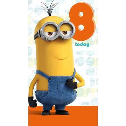 Minion Movie Age 8 Birthday Card