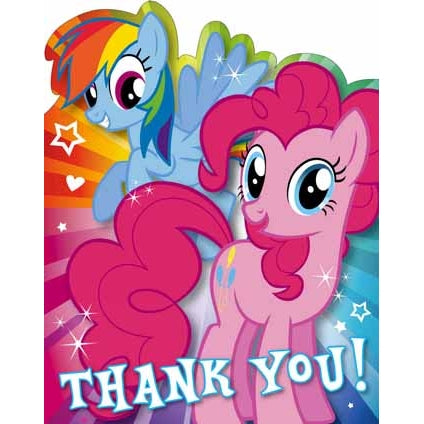 My Little Pony 10 Thank You Cards