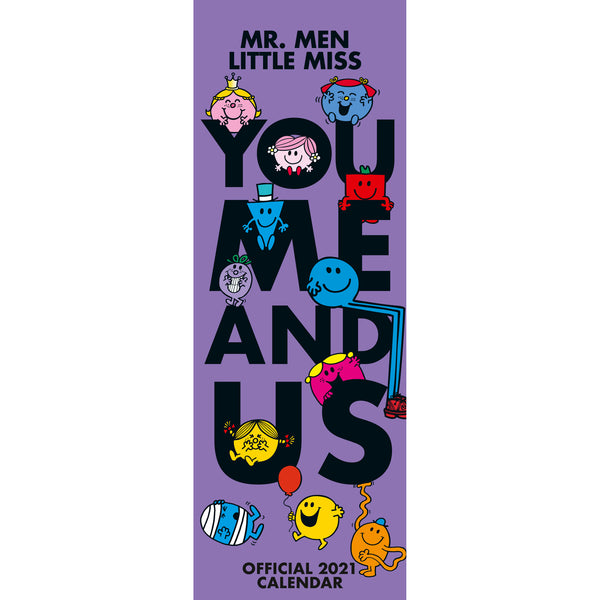 Mr Men Official 2021 Slim Calendar (You, Me & Us) FRONT