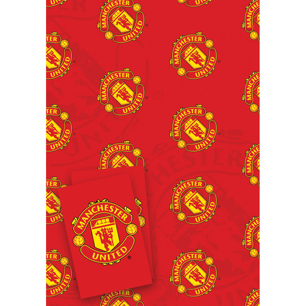Manchester United Football Club Gift Wrap 2 Sheets & Tags