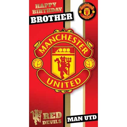 Manchester Utd Brother Birthday Card with Badge