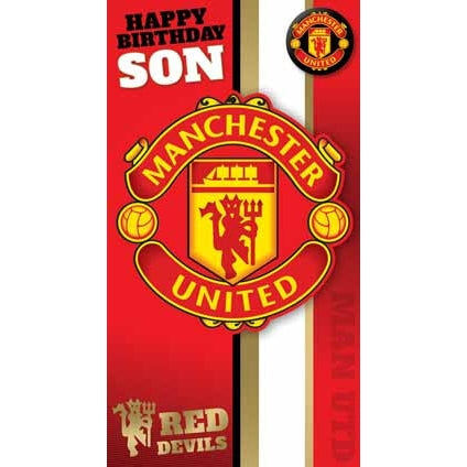 Manchester Utd Son Birthday Card with Badge