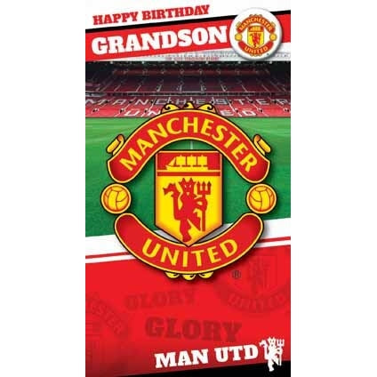 Manchester Utd Grandson Birthday Card with Badge