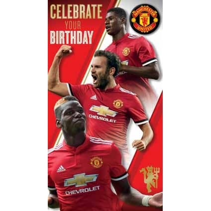 Manchester Utd Happy Birthday Card with Badge