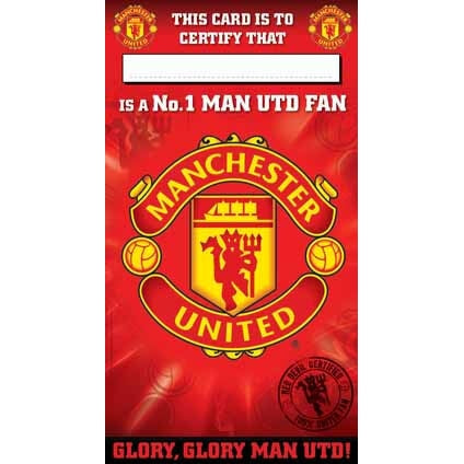 Manchester Utd No. 1 Fan Certificate Birthday Card