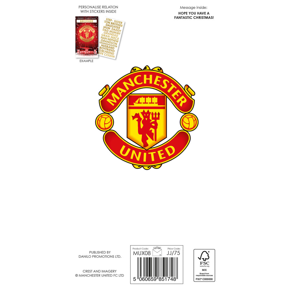 Manchester United Any Name Christmas Card Back