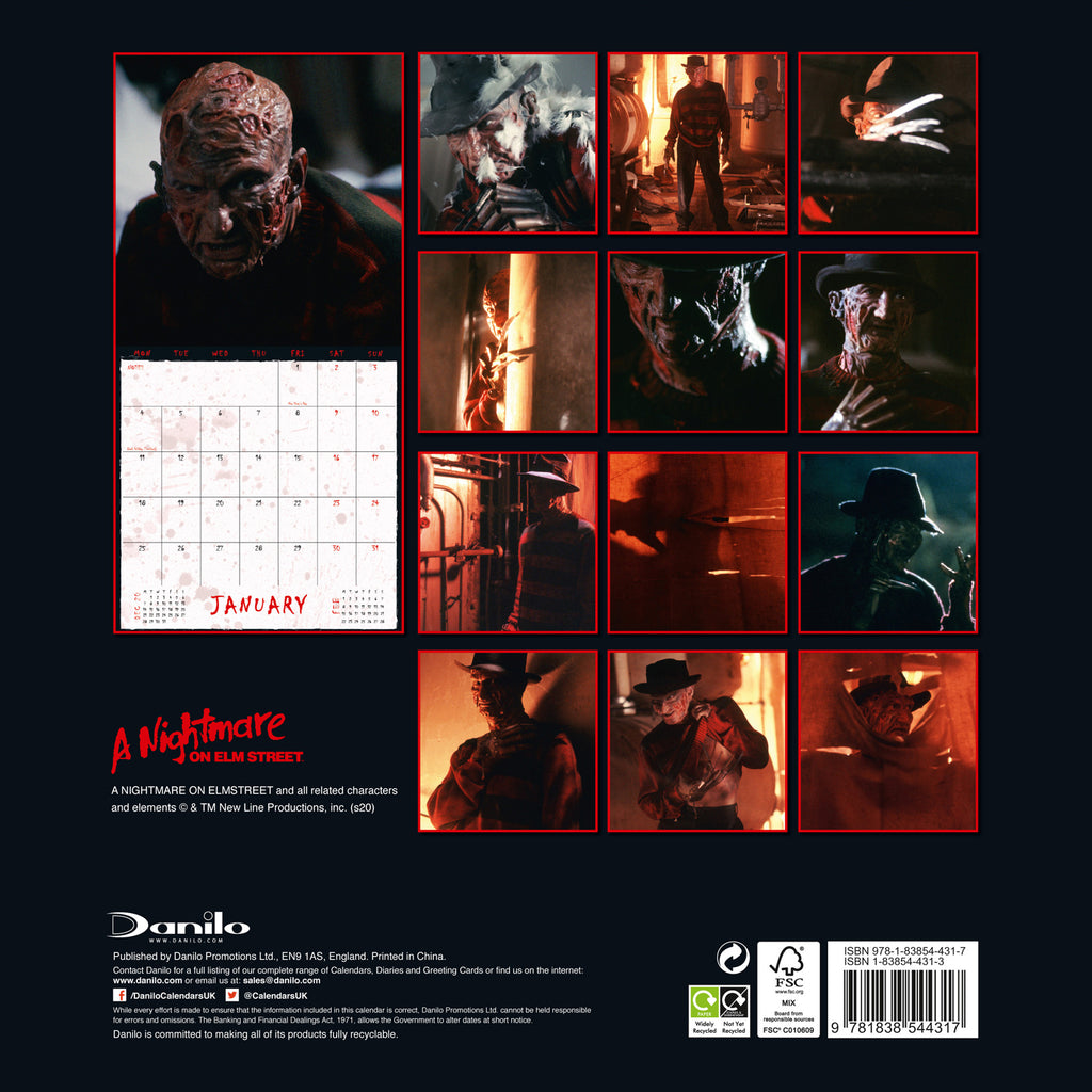 Nightmare On Elm Street Horror Square Calendar Back