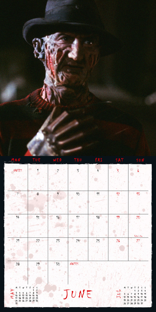 Nightmare On Elm Street Horror Square Calendar Inside