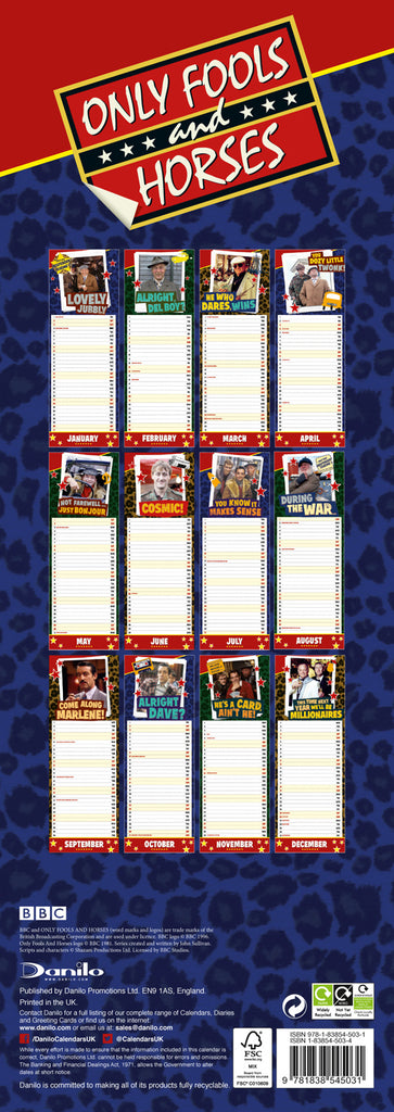 Only Fools & Horses Official 2021 Slim Calendar Back