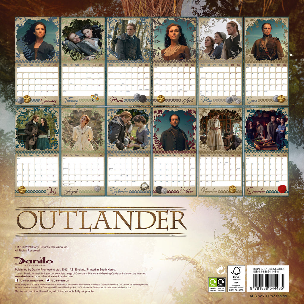Outlander Official 2021 Square Wall Calendar Back