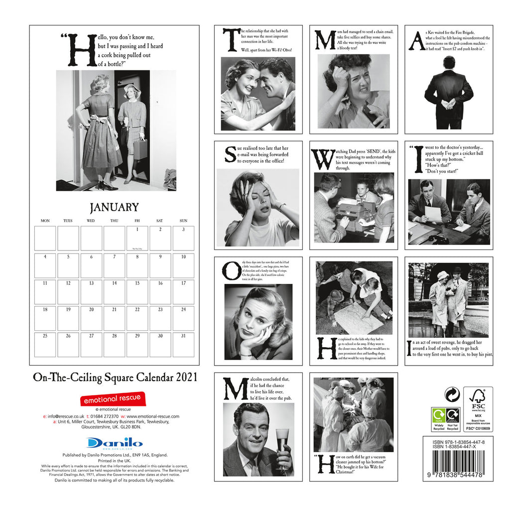 On The Ceiling Official 2021 Square Wall Calendar Back