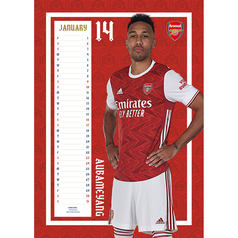 Personalised Arsenal Football Club 2021 A3 Wall Calendar
