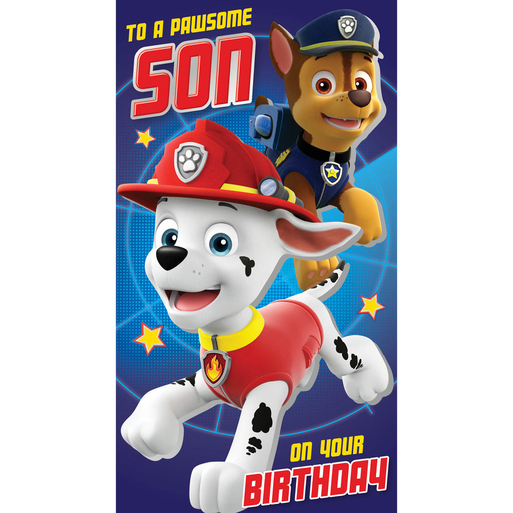 Paw Patrol Son Birthday Card Front